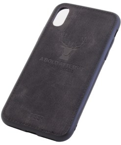iPhone XS Deer Black Leather Cover Case