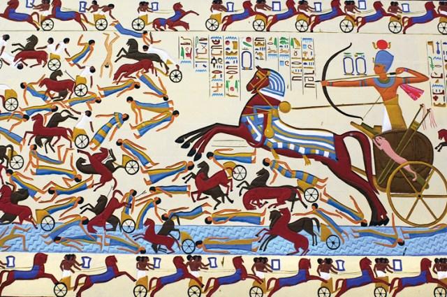 لوحة تمثل أحمس الأول يقاتل الهكسوس في إحدى المعارك