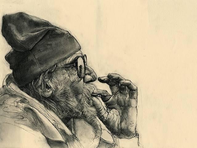 عجوز وسيجارة