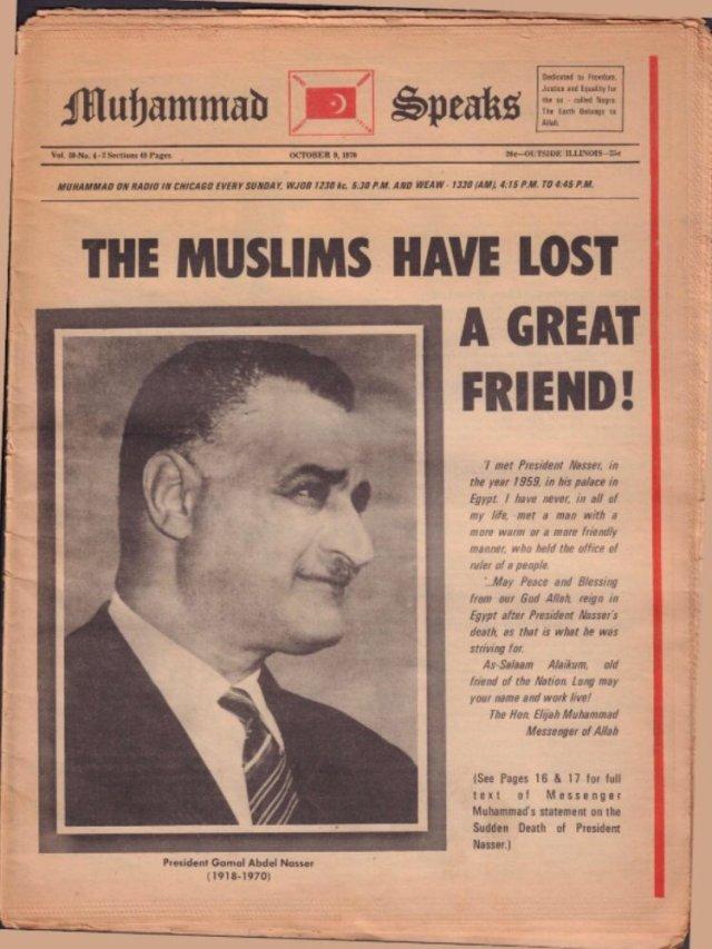 """مانشت نعي عبد الناصر من جريدة """"محمد يتحدث"""" الناطقة باسم منظمة """"أمة الإسلام"""" الأمريكية"""