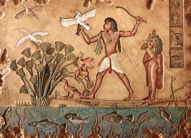جدارية فرعونية حول نهر النيل