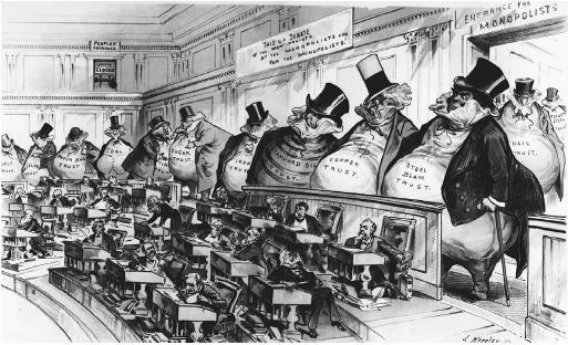 كاريكاتير حول التلاعب بقانون شيرمان
