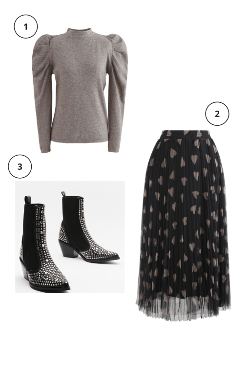 Valentine's Day Outfits Not pink or red  Black Heart tulle midi skirt  Brown puff sleeve top Studded Pointed Toe Chelsea Boot