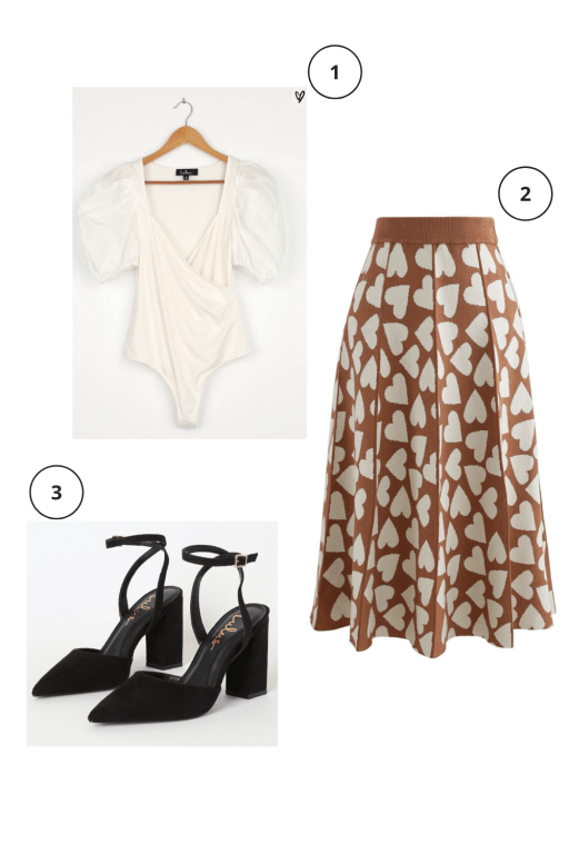 Valentine's Day Outfits Not pink or red  Cream puff sleeve bodysuit, brown + cream heart midi skirt, black closed toe chunky heel