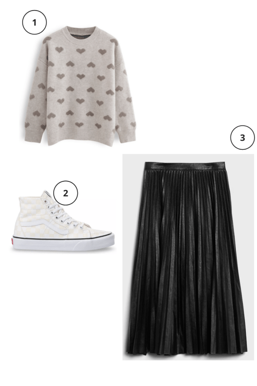 Valentine's Day Outfits Not pink or red  brown heart sweater cream white marshmallow high top vans, black leather midi skirt,