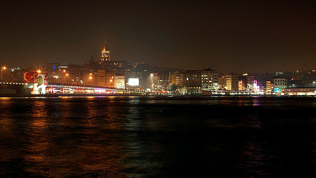Istanbul by night Galata Tower Galata Bridge