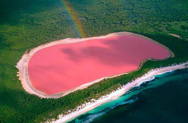 Pink Hillier Lake in Australia
