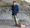 Dr. Chet Walker using GPR (ground-penetrating radar) at Kelley Cave