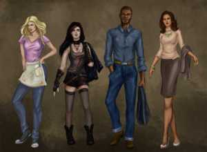 Cast art for Bloodlines an urban fantasy novel by Anne Sturtevant. Ashley, Samantha, Oliver, and Sofia.