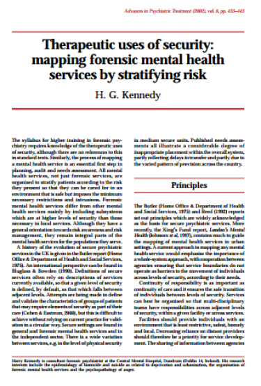 Click to Download Therapeutic Uses of Security mapping forensic mental health services by stratifying risk