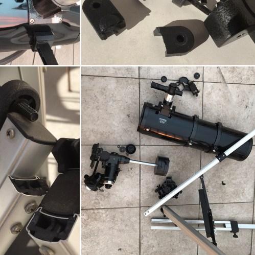 Montage of broken telescope parts