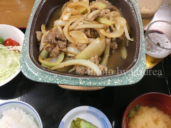 十和田湖バックパッカーズ 夕食メニュー バラ焼定食