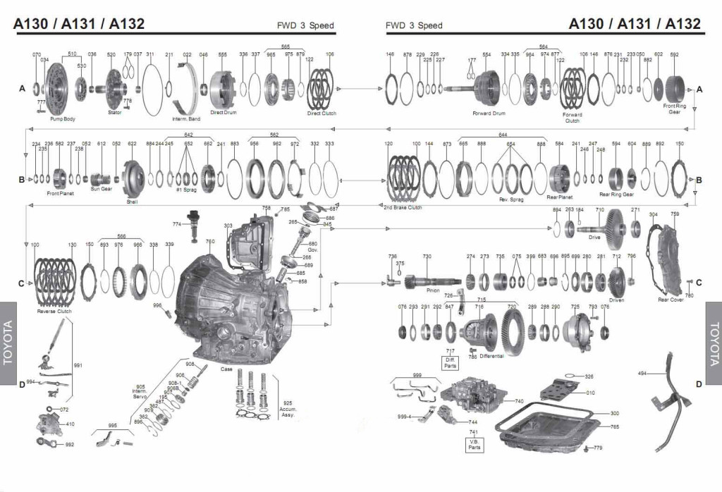 Transmission repair manuals A130 (A131L , A132L