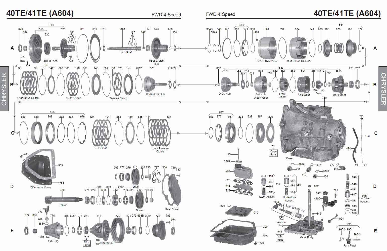 Transmission repair manuals A604, 40TE/ 41TE