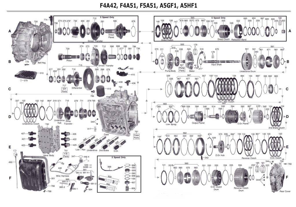 Transmission repair manuals F4A41 / F4A42 / F5A51 / F4A51