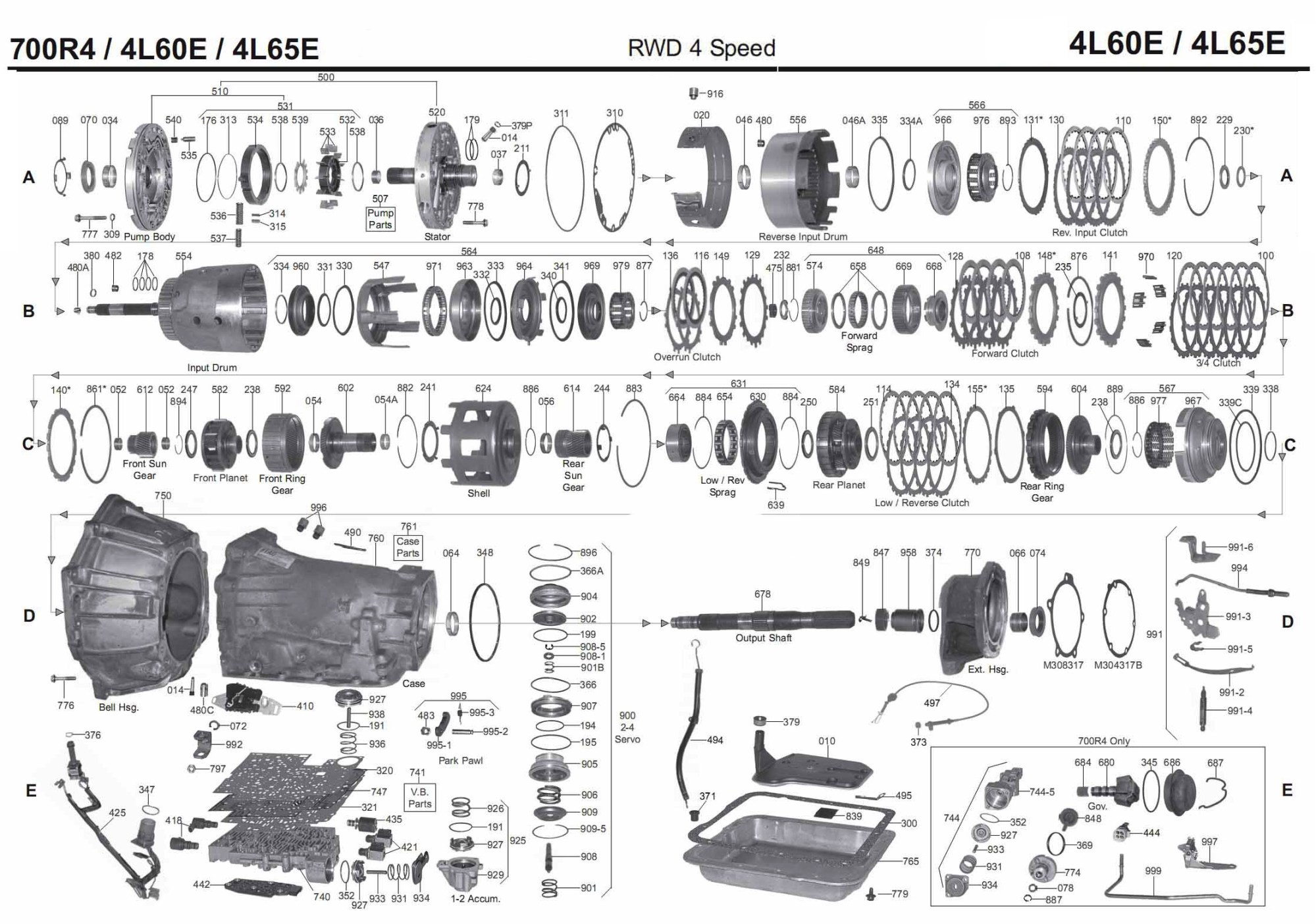 hight resolution of gm 700r4 4l60e transmission parts diagram
