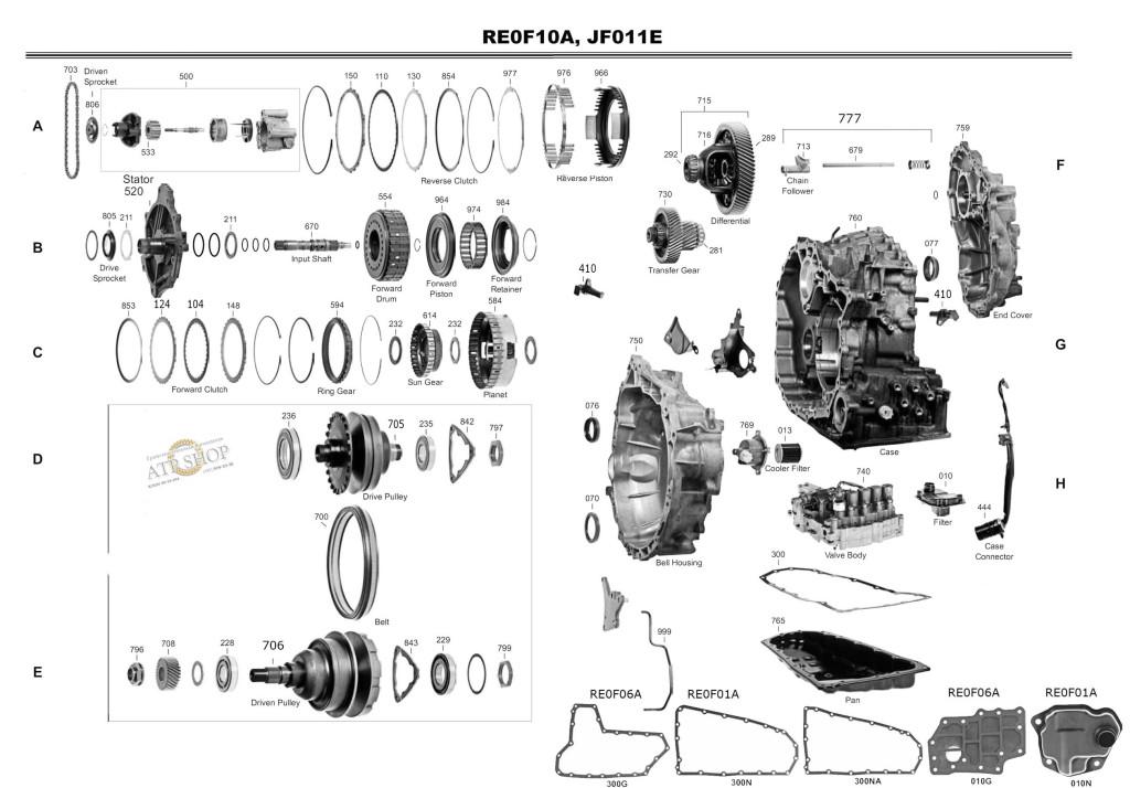 Transmission repair manuals CVT JF011E (RE0F10A), RE0F06A