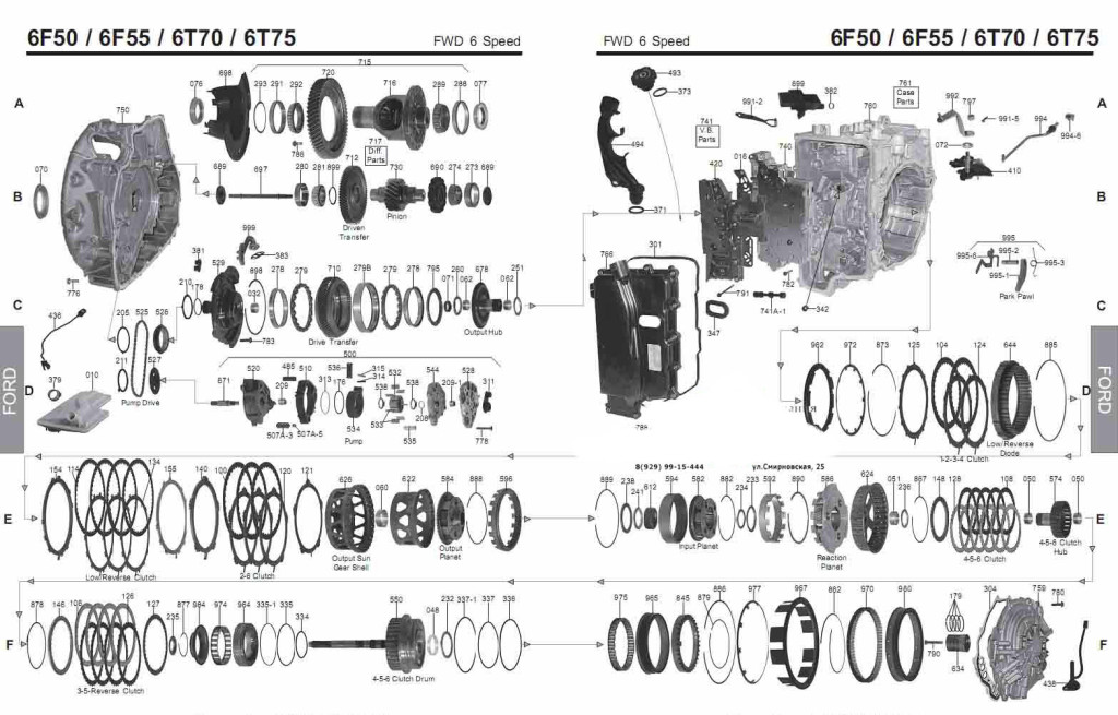 Transmission repair manuals GM 6T70, 6T75 (6F50-Ford