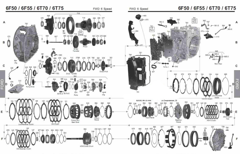 Transmission repair manuals GM 6T70, 6T75 (6F50-Ford