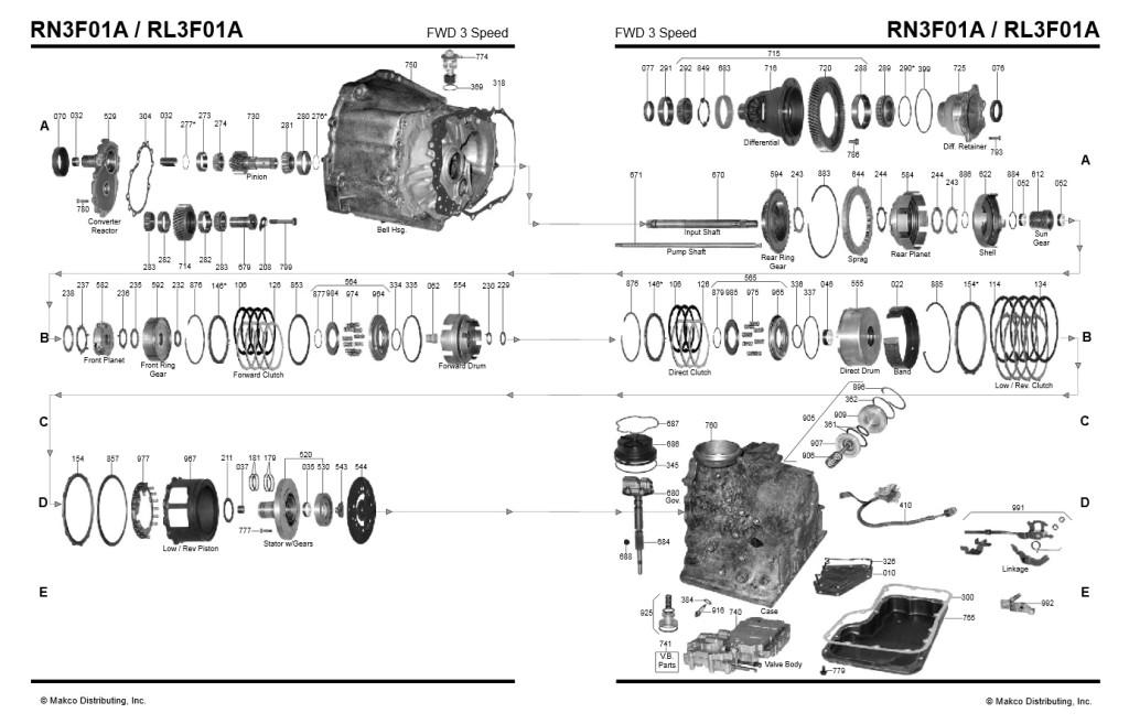 Transmission repair manuals RL3F01A, RN3F01A