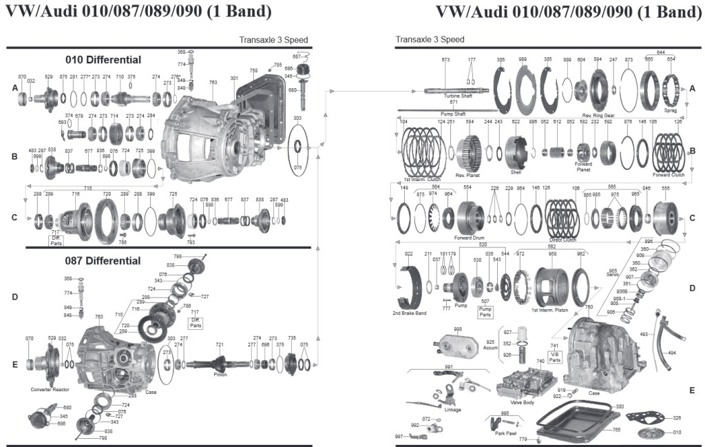 Transmission repair manuals 010 VW/Audi (087 / 089 / 090