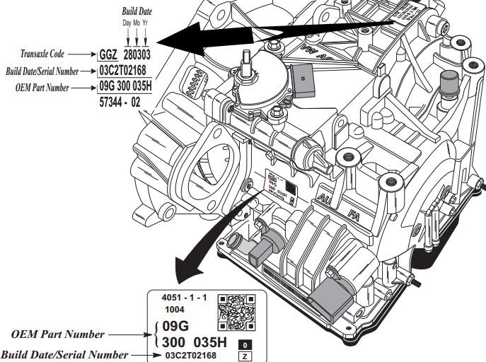 VW 09G, 09K, 09M AW TF60-SN, TF-61SN, TF-62SN