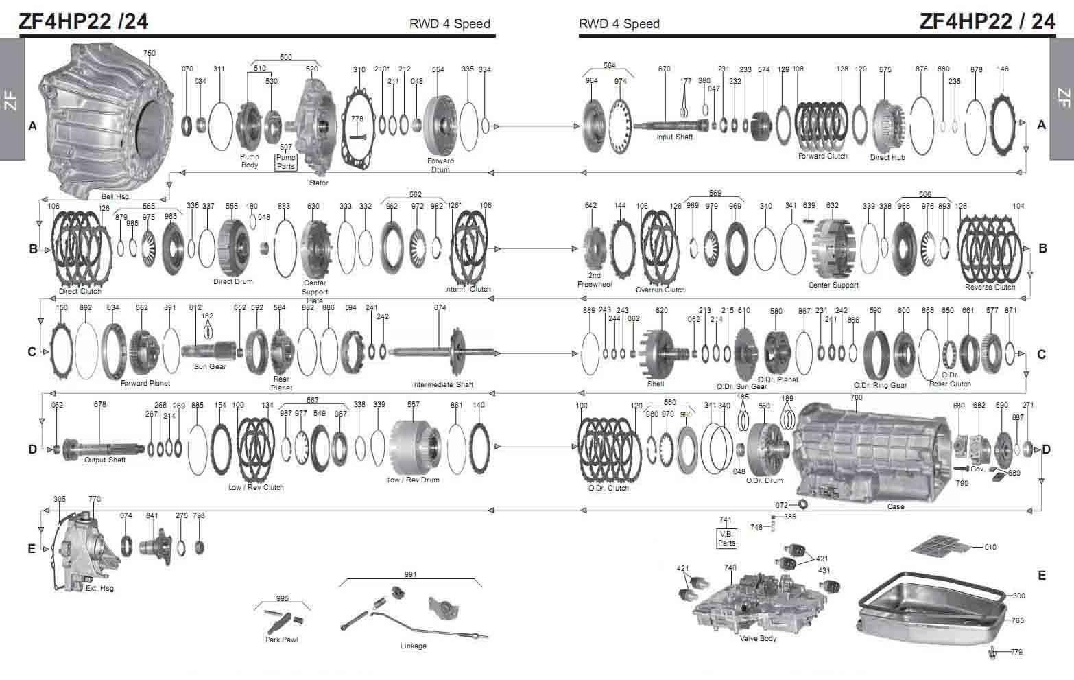 Transmission repair manuals ZF 4HP22 / 4HP24