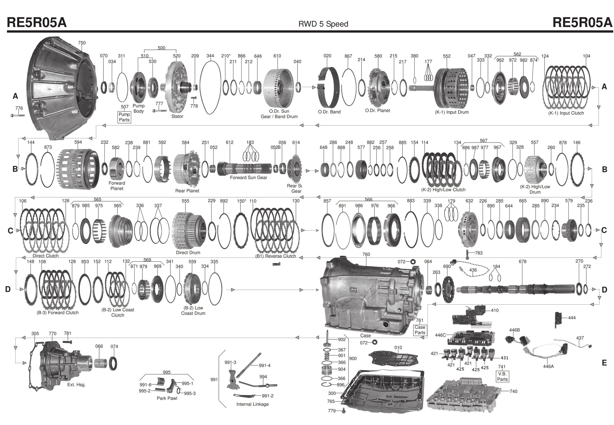 Transmission repair manuals RE5R05A (JR507E