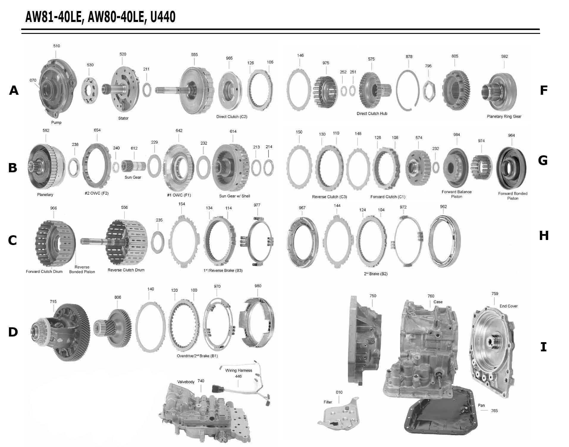 Transmission repair manuals U440E, (AW80/81-40