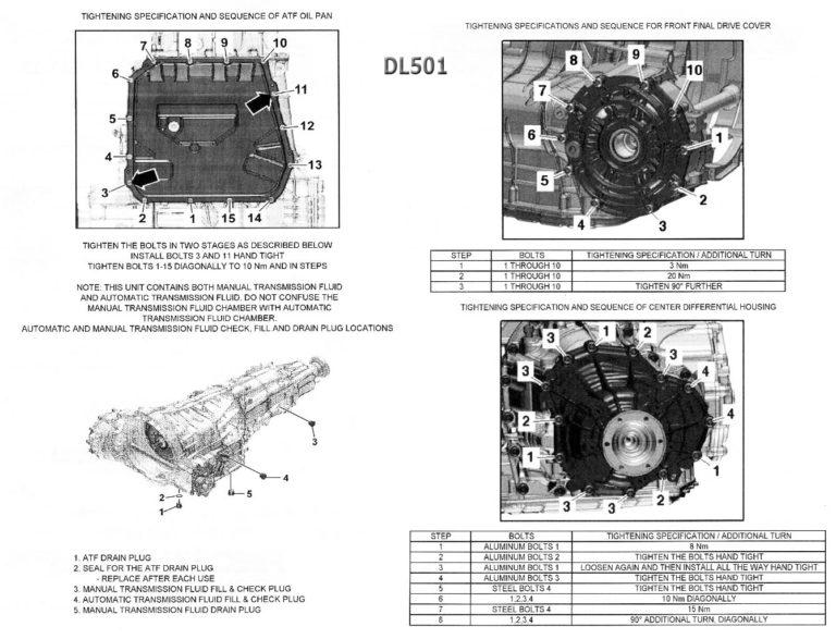 Transmission repair manuals DSG-7 (DL501, 0B5) S-tronic