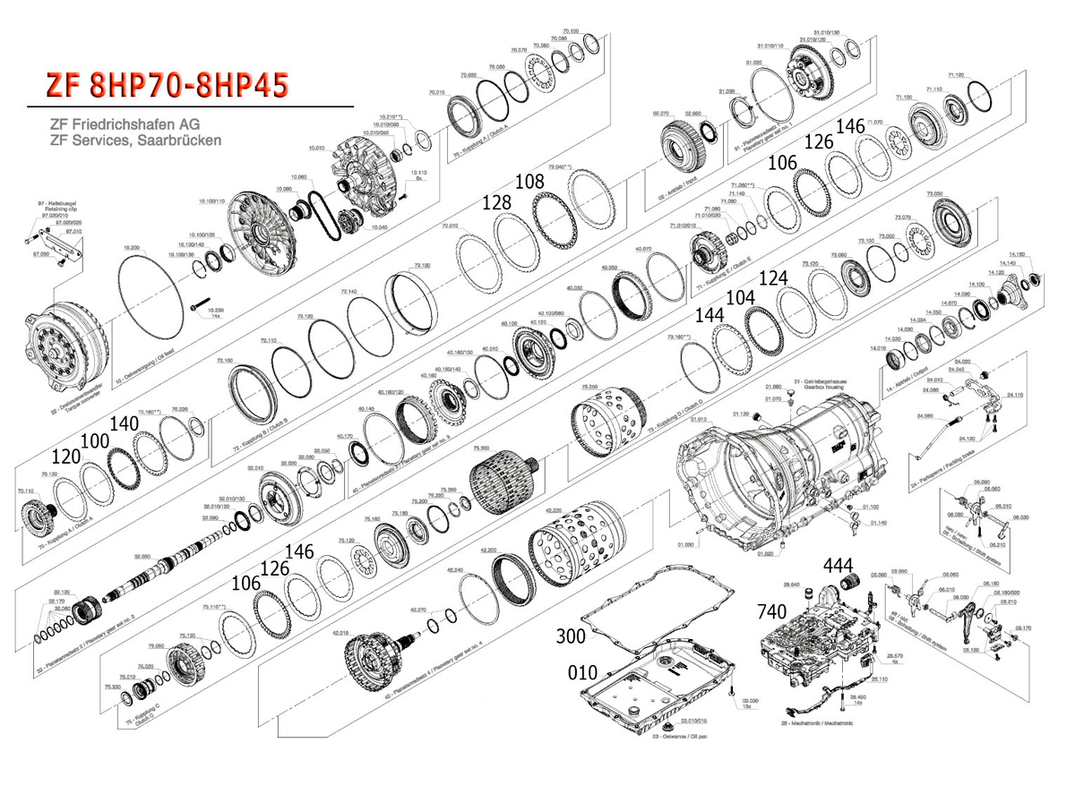 Transmission repair manuals ZF8HP45 / ZF8HP70 / ZF8HP55A