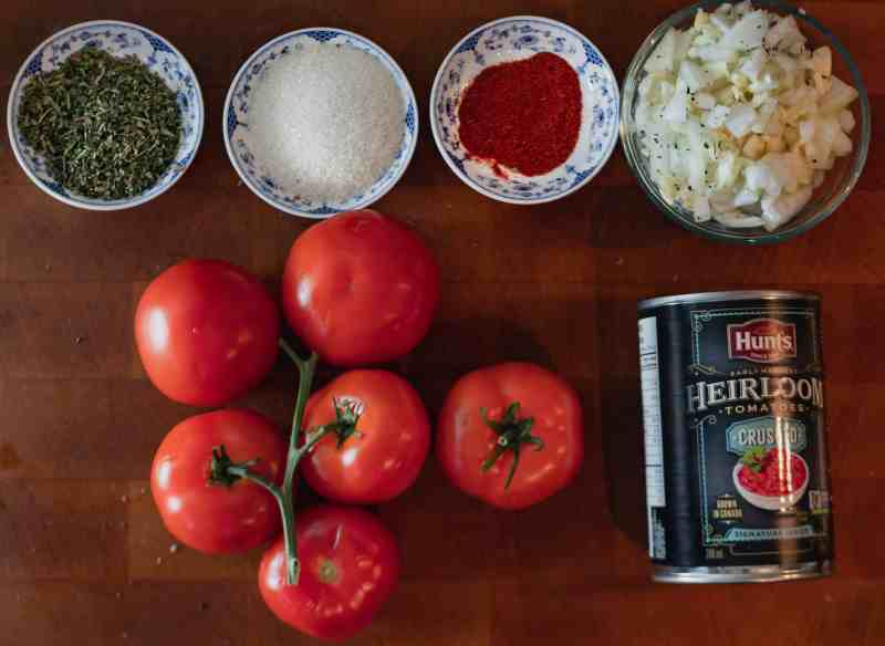 ingredients for lentil bolognese tomato sauce