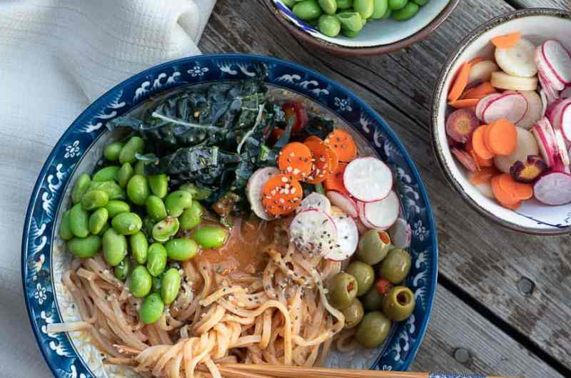 Spicy Peanut Lime Noodle Bowl, with a kid-approved alternative