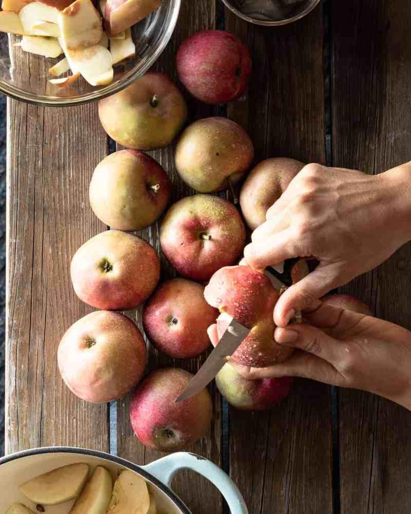 Hand peeling apples