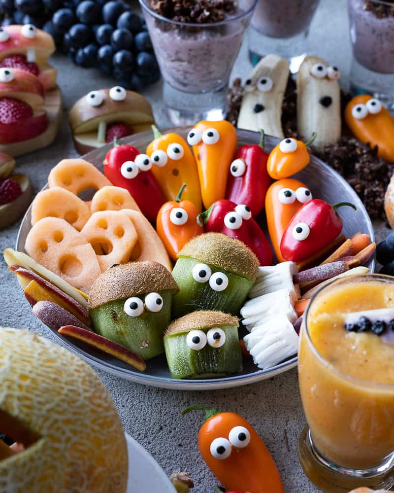 bowl of healthy halloween snacks like pepper ghosts