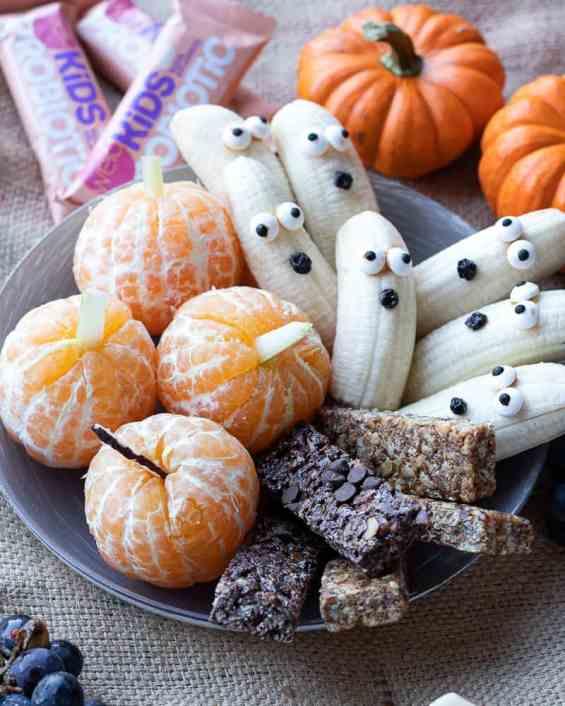plate of halloween snack ideas