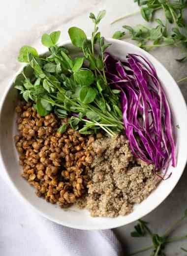 bowl of spiced lentils, quinoa and raw veggies