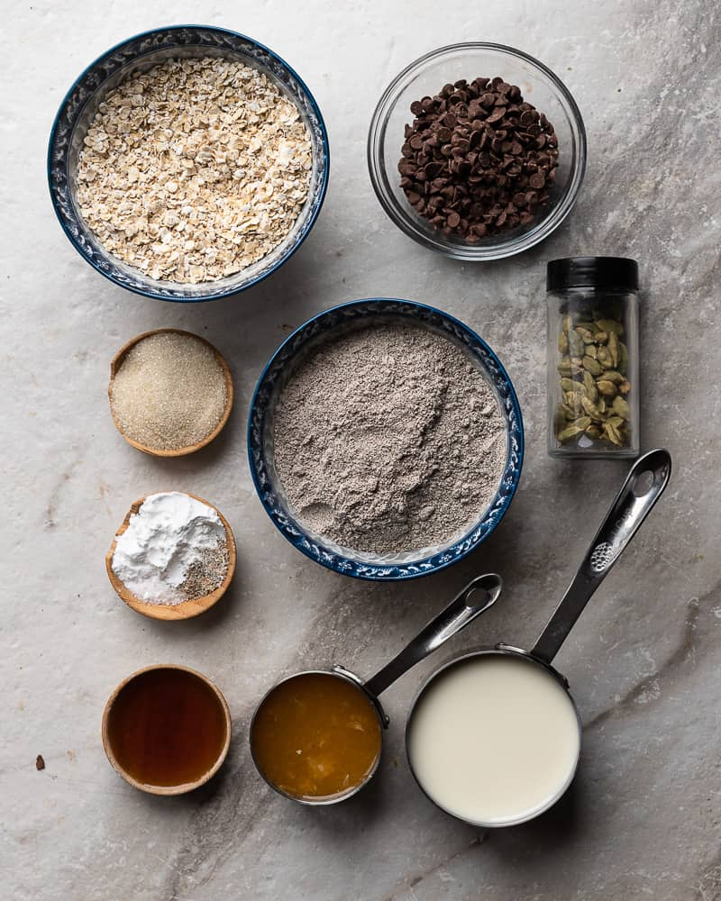 tabletop of baking ingredients for a cookie