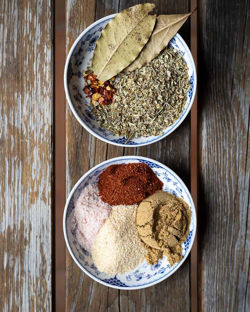 bowls of spices for lentil stew