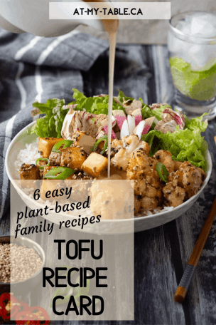 easy tofu recipe card with plantbased family recipes
