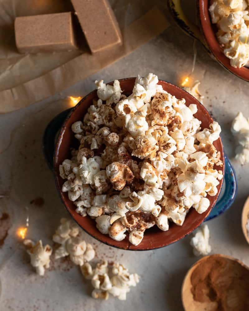 bowl of cinnamon spiced buttery popcorn