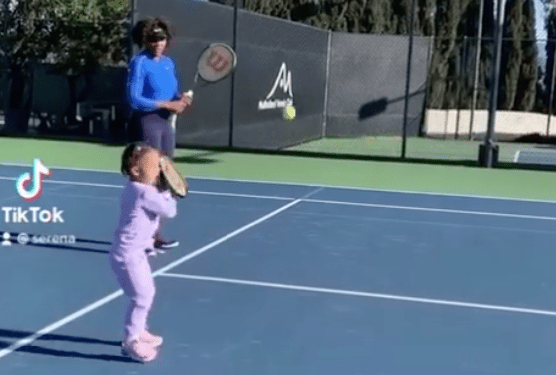 Like Mother, Like Daughter? Serena Williams Practicing Tennis On A Court With Daughter Olympia