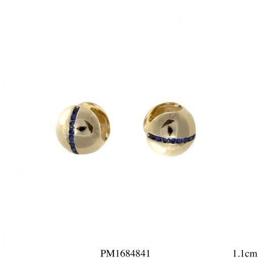 Argola bola zircônia azul -0