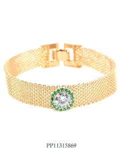 Pulseira luxo de malha com ponto de luz zircônia branca e verde-0