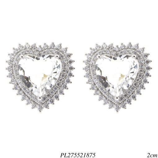 Brinco luxo coração G zircônia branca em banho de ródio -0