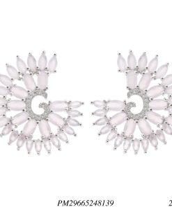 Brinco luxo Monalisa zircônia rosa em banho de ródio-0