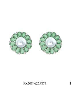 Brinco luxo Flor com pétalas de zircônia verde e pérola em banho de ródio-4610