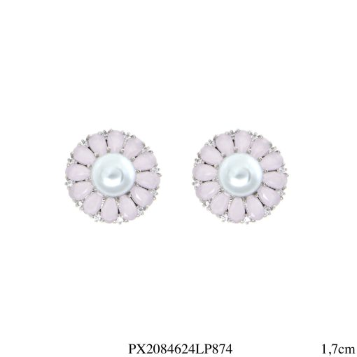 Brinco luxo Flor com pétalas de zircônia rosa leitosa e pérola em banho de ródio-4612