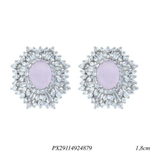 Brinco luxo oval zircônia navete branca e rosa em banho de ródio-0