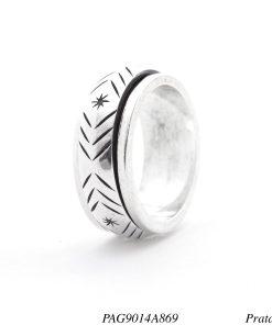 Anel prata 925 giratório com ranhuras -0